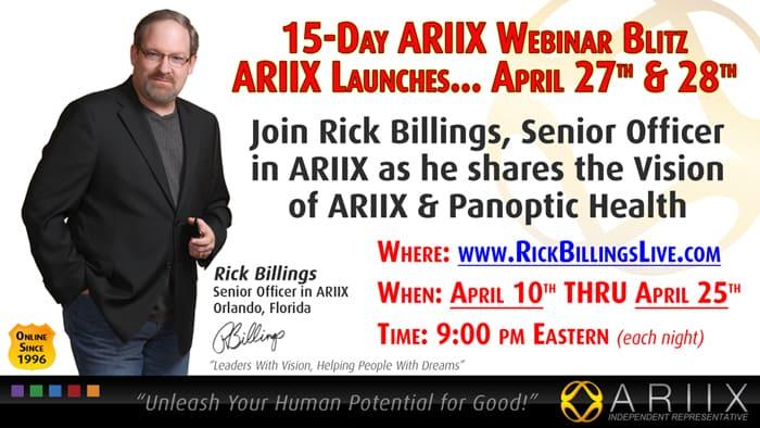 15-Day ARIIX Webinar Blitz to the Launch, Starting April 10th thru 25th 1